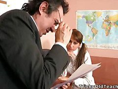Valya came to the teacher's office to pass the test and suddenly the old dude came closer and started peting the coed.