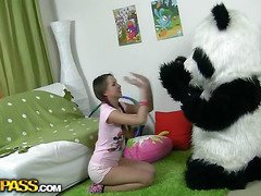 In this unusual sex episode u'll see a marvelous teenage gal playing with toy. But it's not just a toy, it's a big panda bear, and this guy's so joy to play with! This Chab can do everything the gal wants, but this chick should undress nude in return. But imagine the angel's surprise when that chick saw panda's massive belt on! This Playgirl had not at any time thought of him as sex partner previous to, but since this chab's so well-equipped and horny, why not go for a naughty sex play with him? So the panda bear team-fucked the busty teenage in all possible positions ...